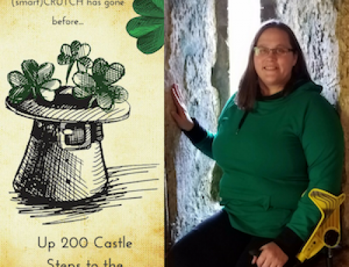 Krista and smartCRUTCH climb 200 steps up Blarney Castle