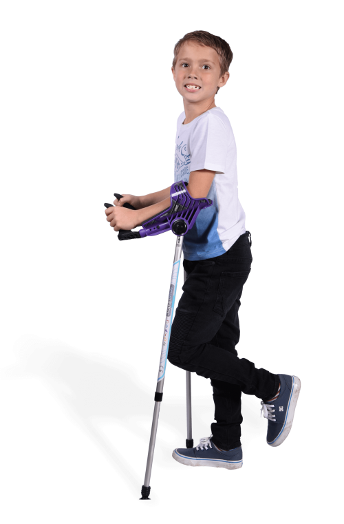 boy standing with smartcrutch