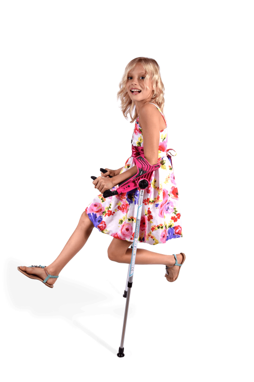 jumping girl with smartcrutch