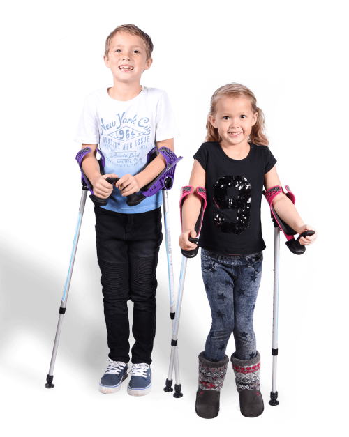 little girl and boy with smartcrutch